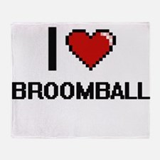 I Love Broomball Digital Design Throw Blanket