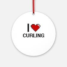 I Love Curling Digital Design Round Ornament