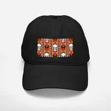 Baroque Skull Stripe Pattern Orange Baseball Hat