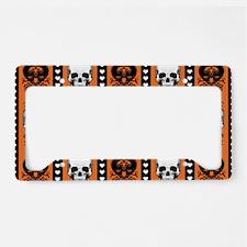 Baroque Skull Stripe Pattern Orange License Plate