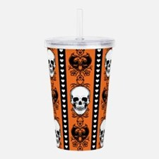 Baroque Skull Stripe Pattern Orange Acrylic Double