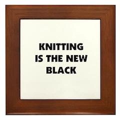 Knitting Is The New Black Framed Tile