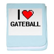 I Love Gateball Digital Design baby blanket