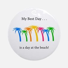 Best Day Rainbow Palm Trees Round Ornament