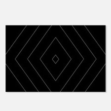 Black Gray Geometric Diamond Pattern Design Postca