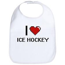 I Love Ice Hockey Digital Design Bib