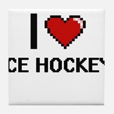 I Love Ice Hockey Digital Design Tile Coaster