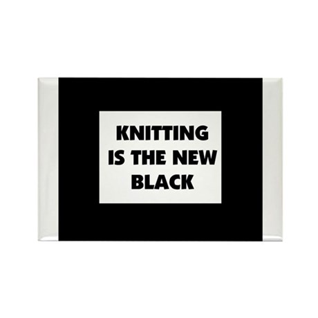 Knitting Is The New Black Rectangle Magnet (10 pac