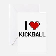 I Love Kickball Digital Design Greeting Cards