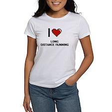 I Love Long Distance Running Digital Desig T-Shirt