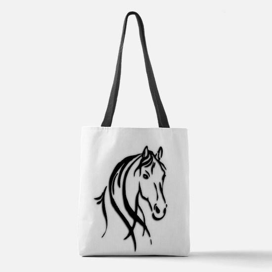 Black Horse Polyester Tote Bag