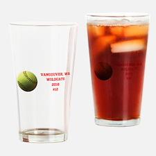 Yellow Softball Team Design Drinking Glass