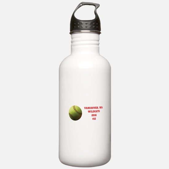Yellow Softball Team Water Bottle