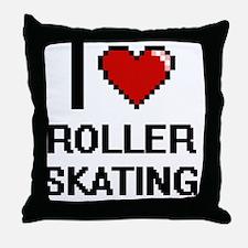 I Love Roller Skating Digital Design Throw Pillow