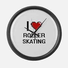 I Love Roller Skating Digital Des Large Wall Clock