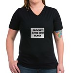 Crochet Is the New Black Women's V-Neck Dark T-Shi