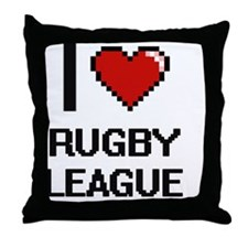 I Love Rugby League Digital Design Throw Pillow