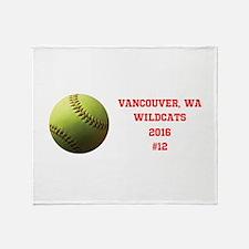 Yellow Softball Team Design B Throw Blanket