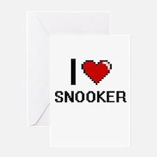 I Love Snooker Digital Design Greeting Cards