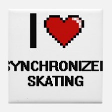 I Love Synchronized Skating Digital D Tile Coaster