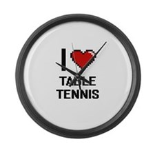 I Love Table Tennis Digital Desig Large Wall Clock
