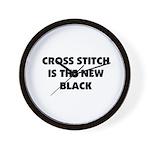 Cross Stitch is the New Black Wall Clock