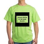 Cross Stitch is the New Black Green T-Shirt
