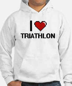 I Love Triathlon Digital Design Hoodie