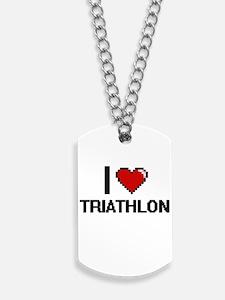 I Love Triathlon Digital Design Dog Tags