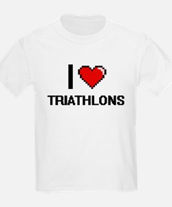 I Love Triathlons Digital Design T-Shirt
