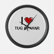 I Love Tug Of War Digital Design Large Wall Clock