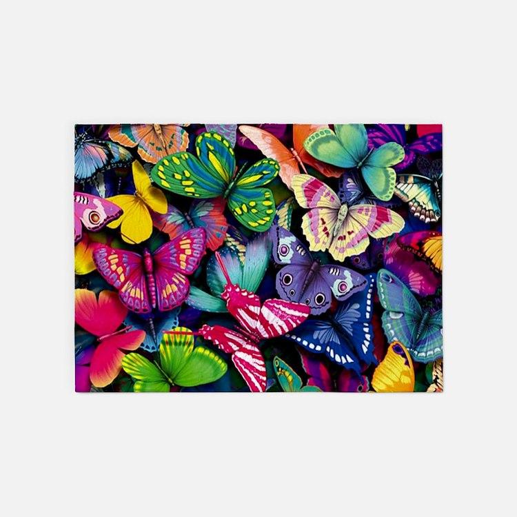 Field of Butterflies 5'x7'Area Rug