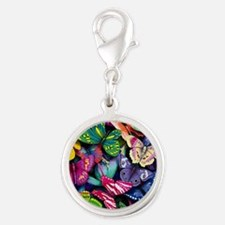 Field of Butterflies Silver Round Charm