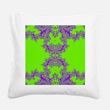 Green Fractals Square Canvas Pillow