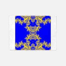 Blue Fractals 5'x7'Area Rug
