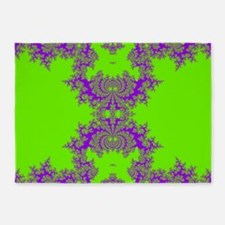 Green Fractals 5'x7'Area Rug