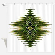 Native Style Green Sunburst Shower Curtain