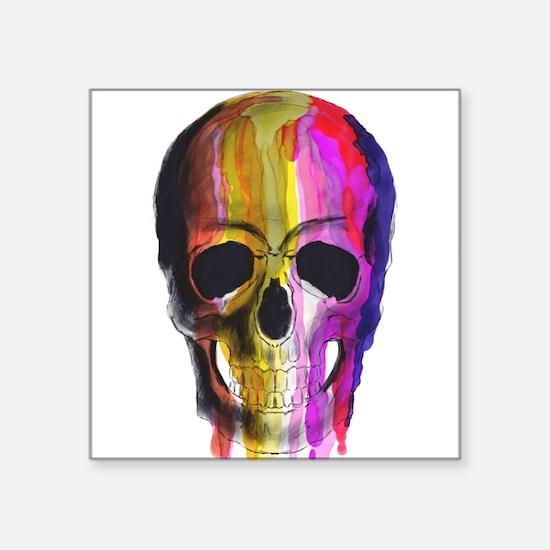 Rainbow Painted Skull Sticker