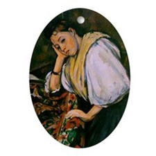 Cezanne - Young Italian Girl Resting Oval Ornament