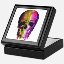 Rainbow Painted Skull Keepsake Box