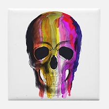 Rainbow Painted Skull Tile Coaster