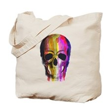 Rainbow Painted Skull Tote Bag