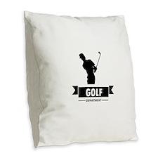 Golf Department Burlap Throw Pillow