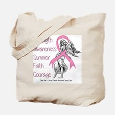 Breast Cancer Angel Words Tote Bag