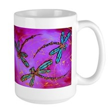 Dragonfly Flit Electric Pink Mugs