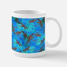 Dragonfly Flit Red Splash Mugs