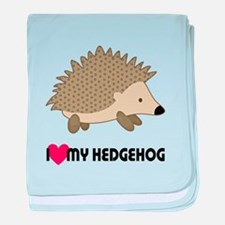 I Love My Hedgehog baby blanket