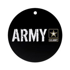 U.S. Army with Black & Gold Star Lo Round Ornament