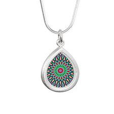 Mandala Silver Teardrop Necklace