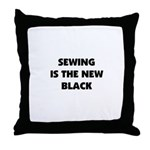 Sewing is the New Black Throw Pillow